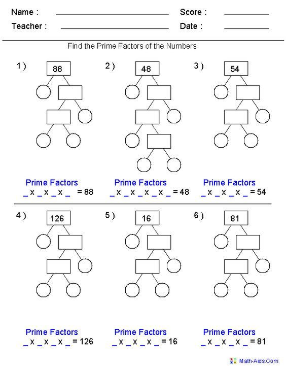Math Aids Factors Worksheets Image Result for Prime Factorization Worksheets for 5th