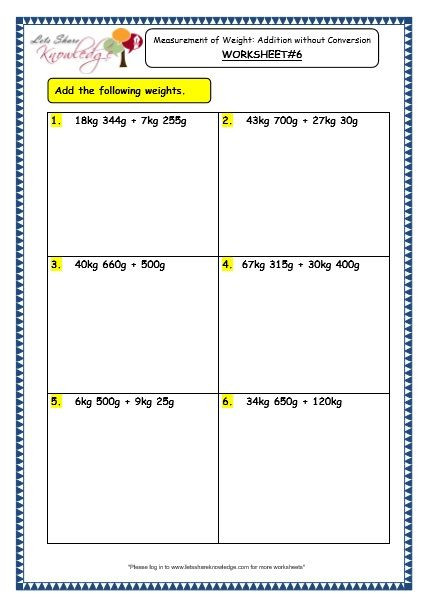 Measurement Worksheet 3rd Grade Grade 3 Maths Worksheets 12 3 Measurement Of Weight