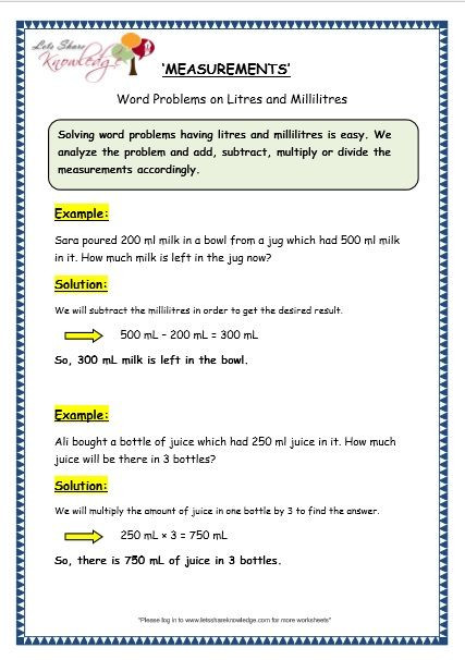 Measurement Worksheet 3rd Grade Measurement Of Capacity Word Problems On Litres and