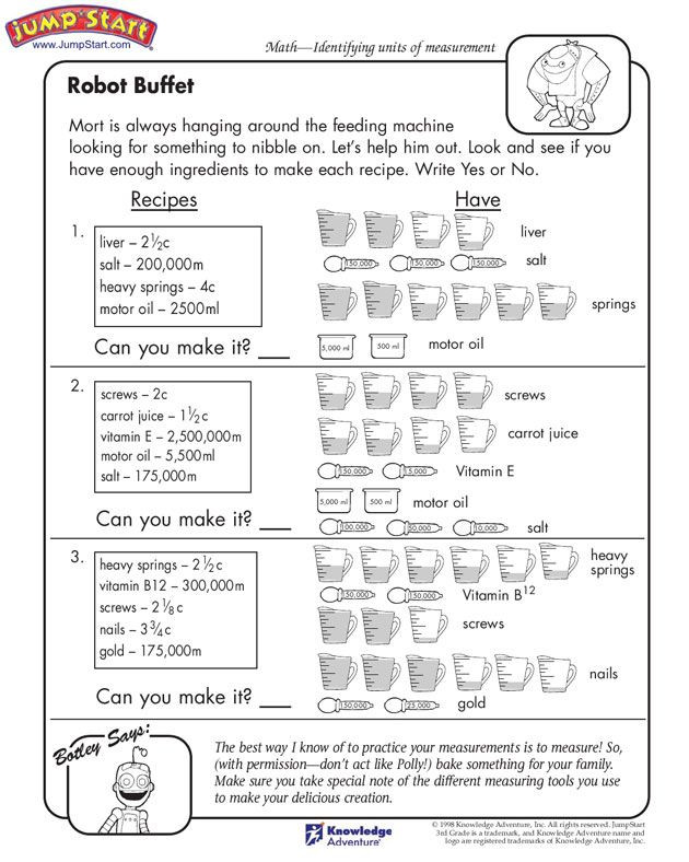 "Measurement Worksheet 3rd Grade Robot Buffet"" – 3rd Grade Measurement Worksheets for Kids"