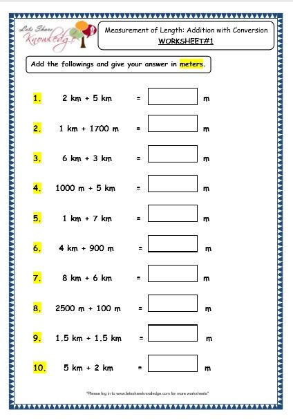 Measurement Worksheet Grade 3 Grade 3 Maths Worksheets 11 3 Measurement Of Length