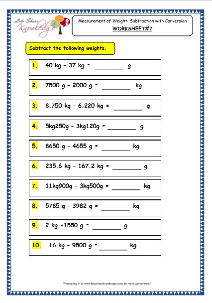 Measurement Worksheet Grade 3 Grade 3 Maths Worksheets 12 2 Measurement Of Weight