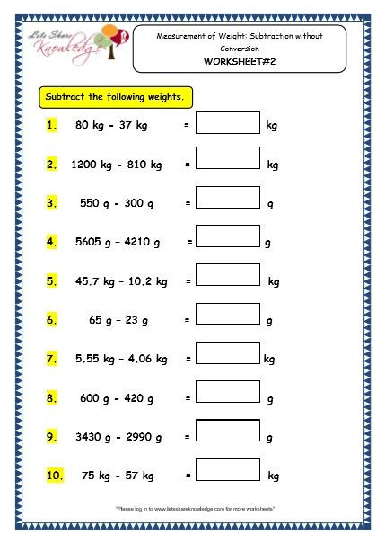 Measurement Worksheet Grade 3 Grade 3 Maths Worksheets 12 4 Measurement Of Weight