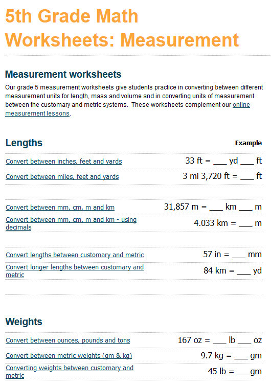 k5 learning adds grade 4 and grade 5 measurement worksheets