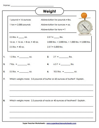 Measurement Worksheets 5th Grade Measuring Weight Pounds and Ounces Worksheets