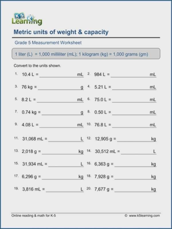 Measurement Worksheets 5th Grade Pin On Math Worksheets