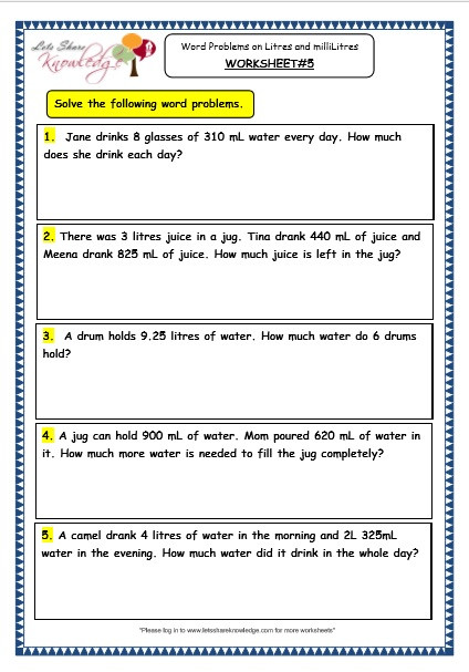 Measurement Worksheets for 3rd Grade Grade 3 Maths Worksheets 13 6 Measurement Of Capacity