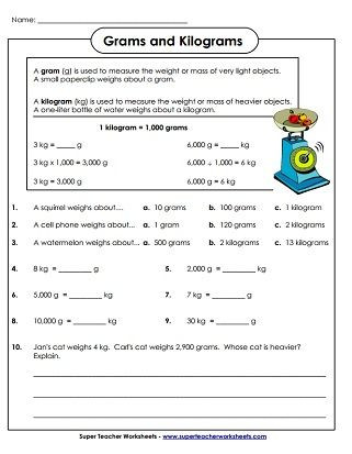 Measurement Worksheets for 3rd Grade Weight Grams and Kilograms Worksheets