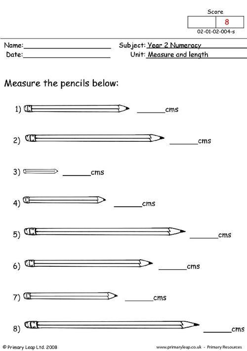 Measuring Worksheet 2nd Grade Numeracy Measurement Worksheet