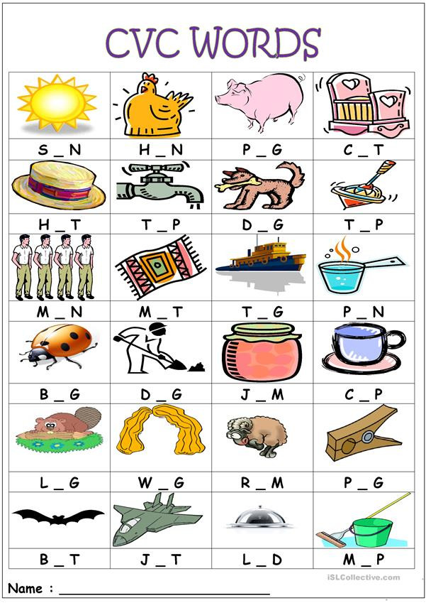 Medial sounds Worksheets First Grade Cvc Words Medial sounds English Esl Worksheets for