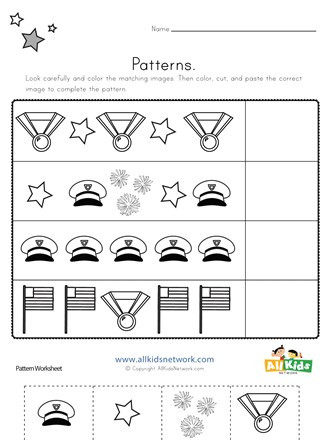 Memorial Day Worksheets First Grade Memorial Day Cut and Paste Patterns Worksheet