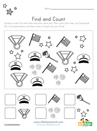 Memorial Day Worksheets First Grade Memorial Day Find and Count Worksheet