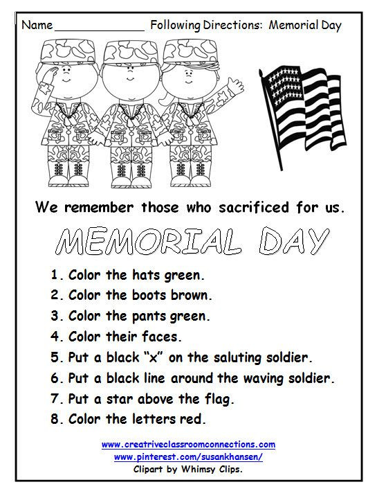 Memorial Day Worksheets First Grade This Free Memorial Day Worksheet Reminds Students Of the