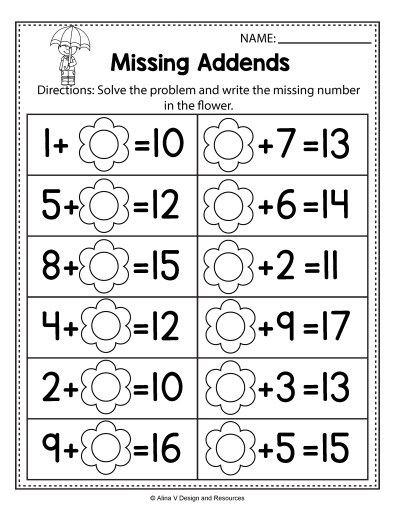 Missing Addend Worksheets 1st Grade Free Spring Math Worksheets for Kindergarten No Prep