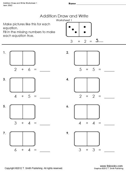 Missing Addend Worksheets Kindergarten Addition Draw and Write Worksheets 1 and 2