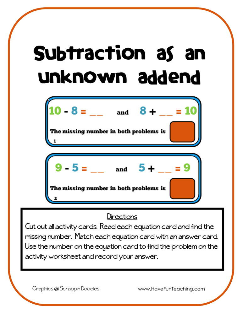 Missing Addends Worksheets 1st Grade Subtraction as An Unknown Addend Activity