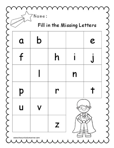 Missing Alphabet Letters Worksheet Fill In the Missing Letters Worksheet for Pre K 1st Grade