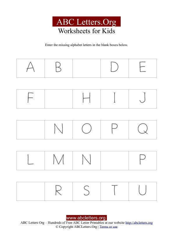 Missing Letter Alphabet Worksheets Abc Missing Letter Worksheets 2 School Pinterest