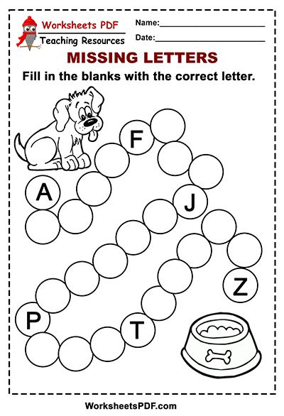 Missing Letter Alphabet Worksheets Free Printable Dog Alphabet – Missing Letters Worksheets Pdf