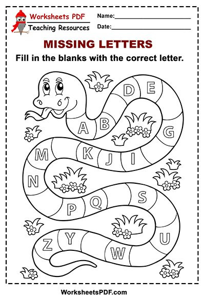 Missing Letter Alphabet Worksheets Free Printable Snake Alphabet Missing Letters Worksheets Pdf
