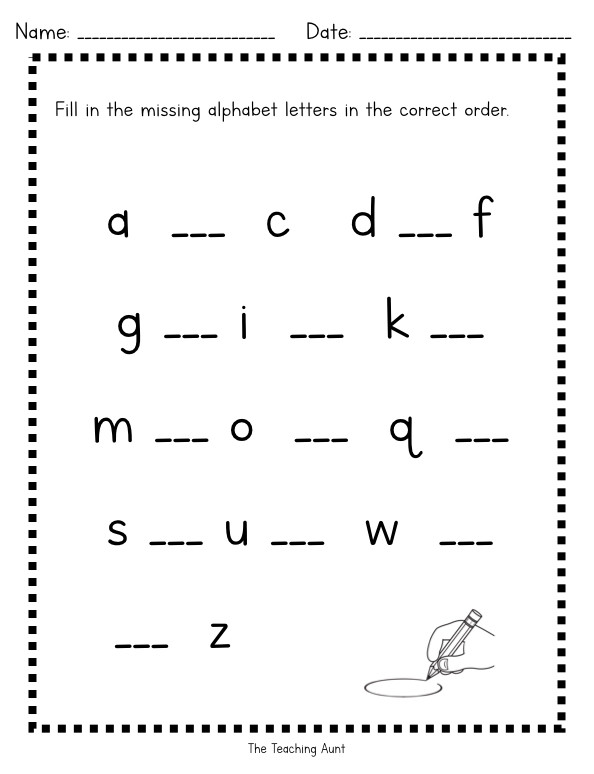 Missing Letter Alphabet Worksheets Missing Lowercase Letters Worksheets the Teaching Aunt