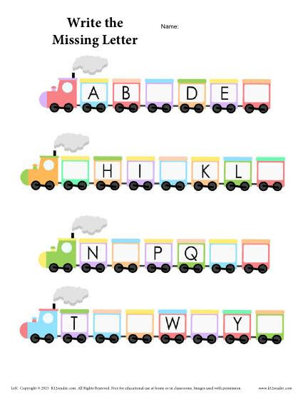 Missing Letters Worksheet for Kindergarten Alphabet Train Worksheet