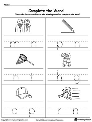 Missing Letters Worksheet for Kindergarten Fill In the Missing Vowel Part5
