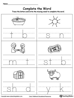 Missing Letters Worksheet for Kindergarten Fill In the Missing Vowel Part6