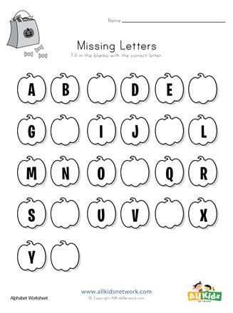 Missing Letters Worksheet for Kindergarten Halloween Missing Letters Worksheet