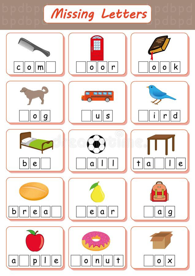 Missing Letters Worksheet for Kindergarten Missing Letters Find the Missing Letters and Write them In