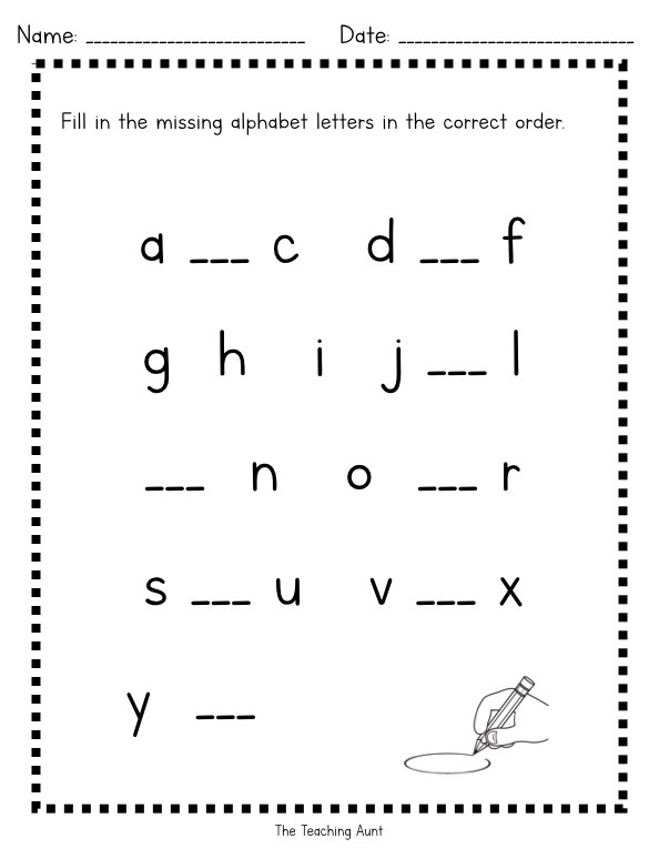 Missing Letters Worksheet for Kindergarten Missing Lowercase Letters Worksheets the Teaching Aunt