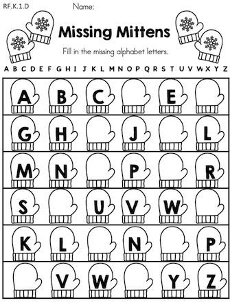 Missing Letters Worksheet for Kindergarten Winter Literacy Worksheets Kindergarten