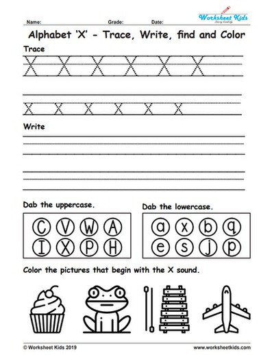 Missing Letters Worksheets Pdf Alphabet Letter X Trace Write Find Color Free Printable Pdf