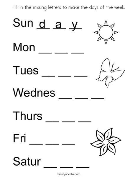 Missing Letters Worksheets Pdf Fill In the Missing Letters to Make the Days Of the Week