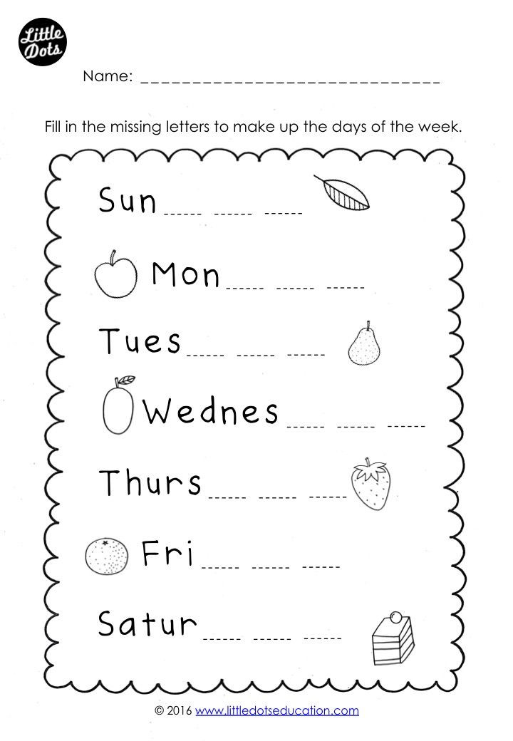 Missing Letters Worksheets Pdf Free Days Of the Week Worksheet Fill In the Missing Letters