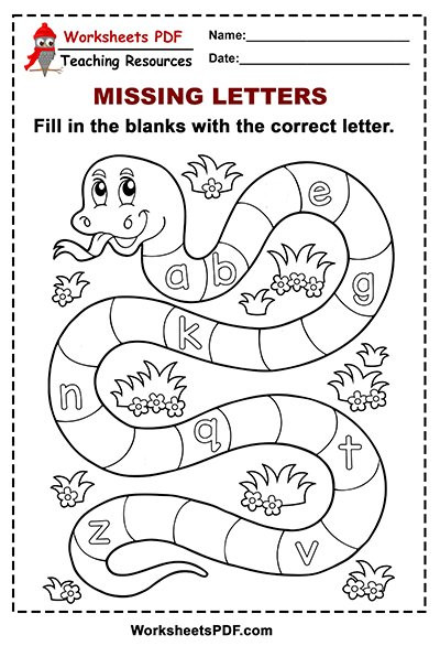 Missing Letters Worksheets Pdf Snake Alphabet – Missing Letters Lower Case Worksheets Pdf