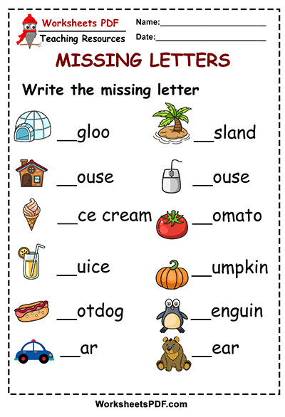 Missing Letters Worksheets Pdf Write the Missing Letter Free Printables Worksheets Pdf