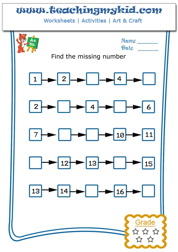Missing Number Worksheet for Kindergarten Write the Missing Number 4 Archives Teaching My Kid