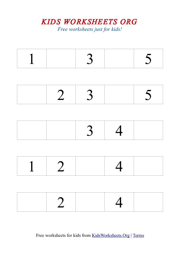 Missing Number Worksheets Kindergarten 1 5 Missing Number Worksheet