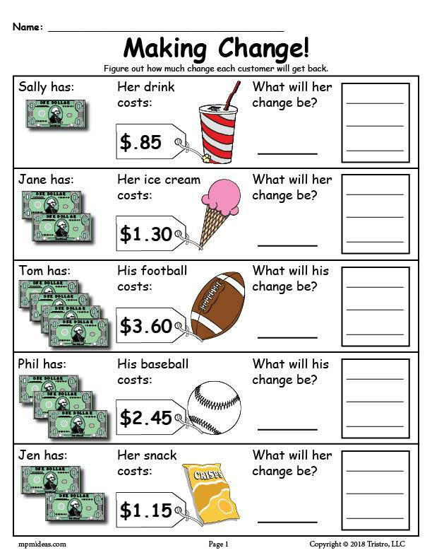 Money Worksheets 3rd Grade Printable Making Change Money Worksheets 2 Versions