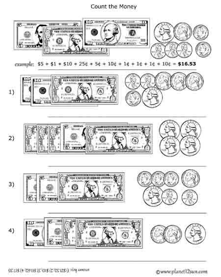 Money Worksheets for 3rd Grade Bills Coins Counting Money Planet12sun Printables