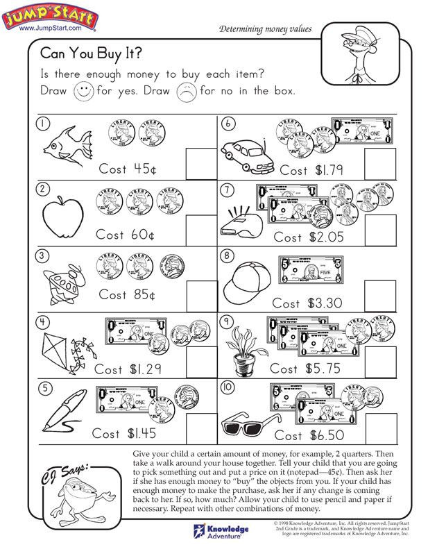 """Money Worksheets for Second Grade Can You Buy It """" – 2nd Grade Math Worksheets Jumpstart"""