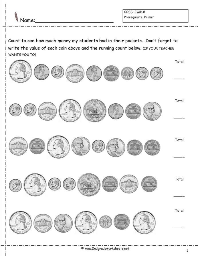 Money Worksheets for Second Grade Counting Coins and Money Worksheets Printouts Sets Free