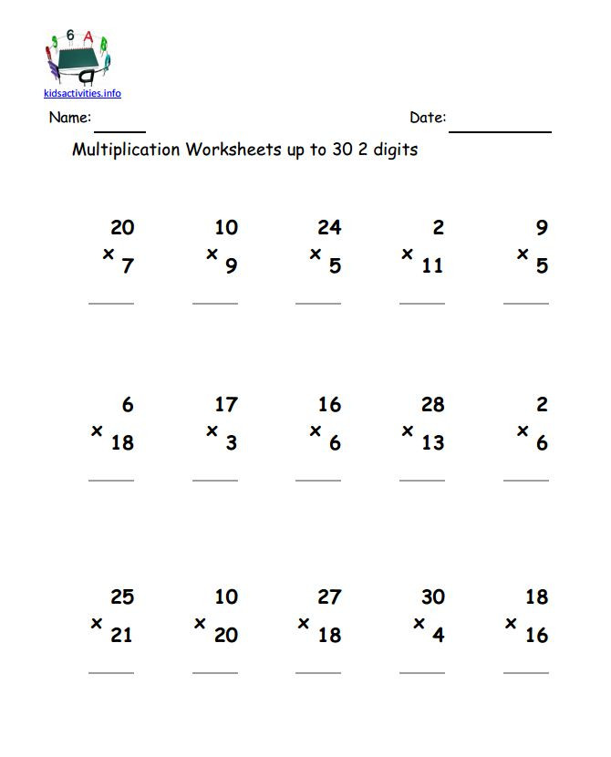 Multiplication Worksheets Grade 4 Pdf Multiplication Math Worksheet with Answer