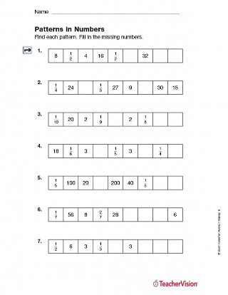 Number Patterns Worksheets Grade 6 Patterns In Numbers Fractions Printable 5th Grade