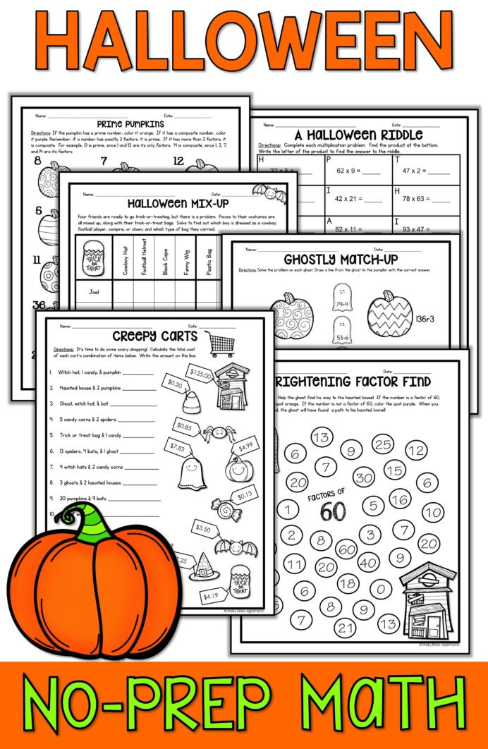 Nwea Math Practice Worksheets Fun Halloween Math Worksheets Year Questions and Answers