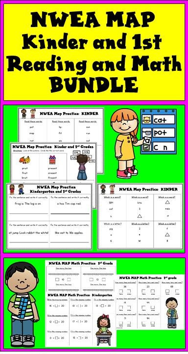 Nwea Math Practice Worksheets Nwea Map Reading and Math Practice Bundle Kinder and First