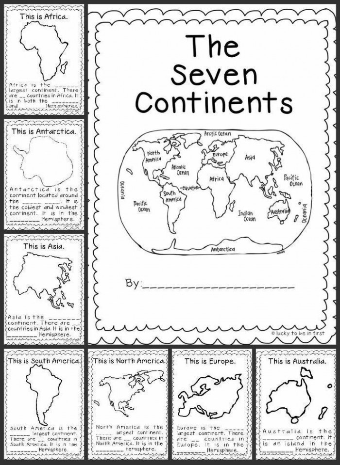 Oceans and Continents Worksheets Printable the Seven Continents Worksheets