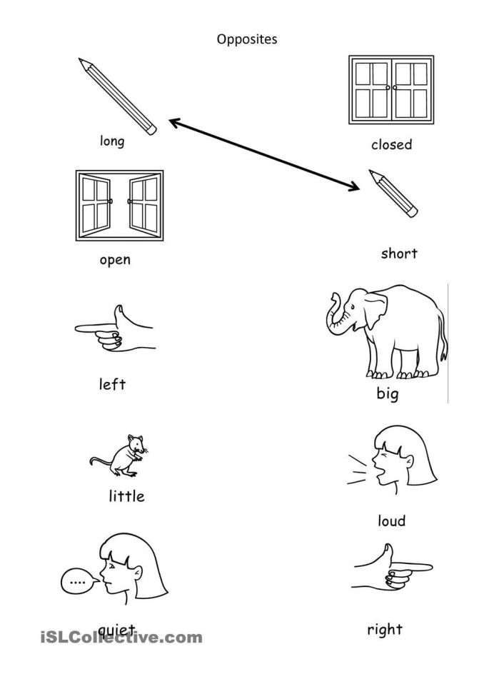 Opposites Worksheet Kindergarten Match the Opposites Worksheets for Kindergarten لم يسبق له