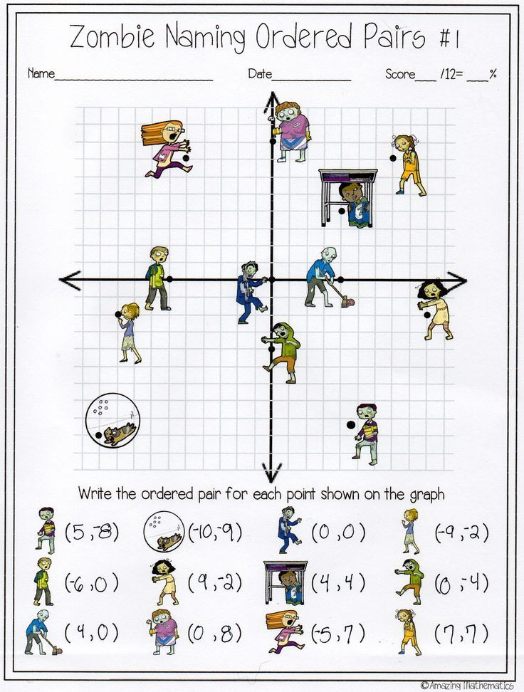 Ordered Pairs Worksheet 5th Grade My Math Students Will Love This Zombie Naming ordered Pairs